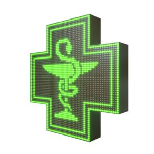 Krzyż apteczny reklama LED 64x64cm zielony dwustronny