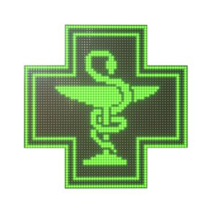 Krzyż apteczny reklama LED 64x64cm zielony jednostronny