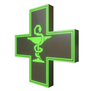 Krzyż apteczny reklama LED 96x96cm zielony jednostronny