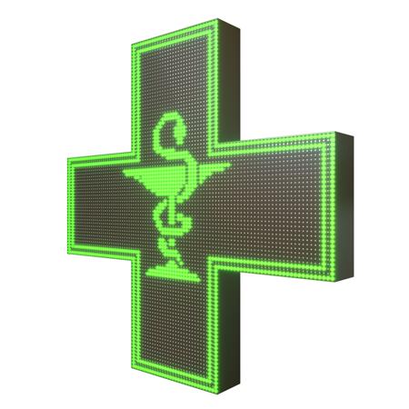 Krzyż apteczny reklama LED 96x96cm zielony dwustronny