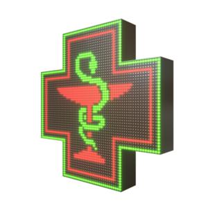 Krzyż apteczny reklama LED 64x64cm zielony+czerwony=żółty dwustronny