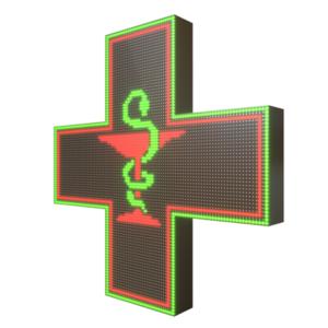 Krzyż apteczny reklama LED 96x96cm zielony+czerwony=żółty dwustronny