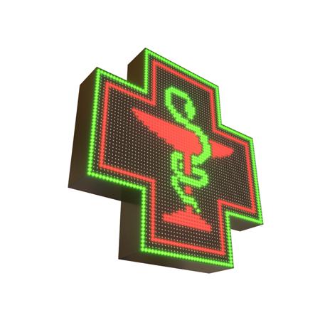 Krzyż apteczny reklama LED 64x64cm zielony+czerwony=żółty jednostronny