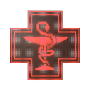 Krzyż apteczny reklama LED 64x64cm czerwony jednostronny